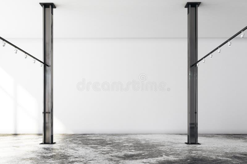 Galería contemporánea del desván con la pared vacía stock de ilustración