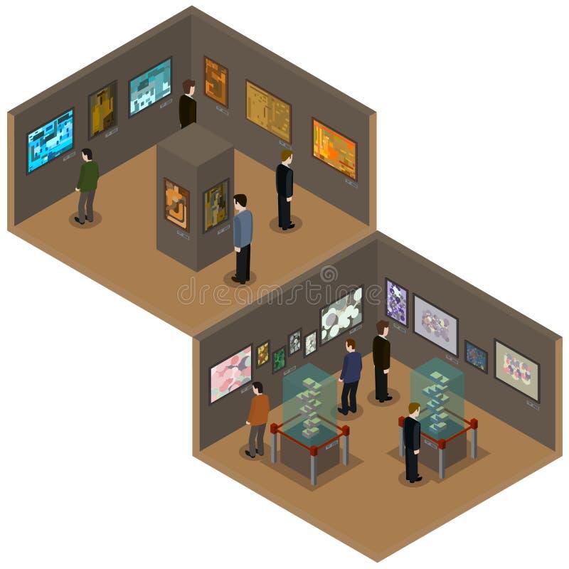 Galería de arte con las pinturas, seres humanos, objetos expuestos en los pedestales, ejemplo isométrico del vector stock de ilustración