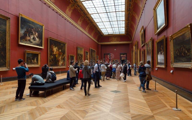 Galería de arte del museo del Louvre, París Francia imagenes de archivo