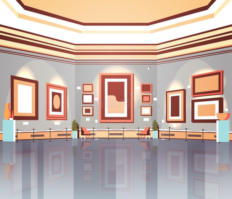 Galería de arte moderno en ilustraciones u objetos expuestos contemporáneos creativos interiores de las pinturas del museo comple libre illustration