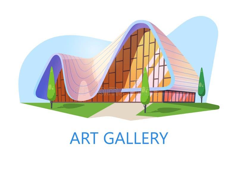 Galería de arte o edificio del museo, estudio de la exposición libre illustration