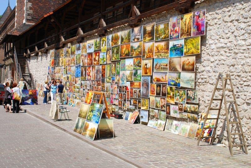 Galería de cuadro en la puerta de Florian en Cracovia fotografía de archivo