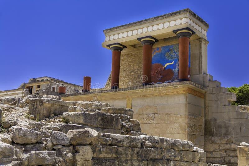 Galería de la columna de Knossos fotos de archivo libres de regalías