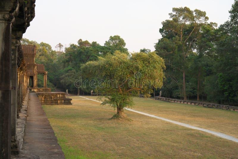 Galería del sur del primer pasillo de Angkor Wat en Siem Reap, Camboya fotografía de archivo