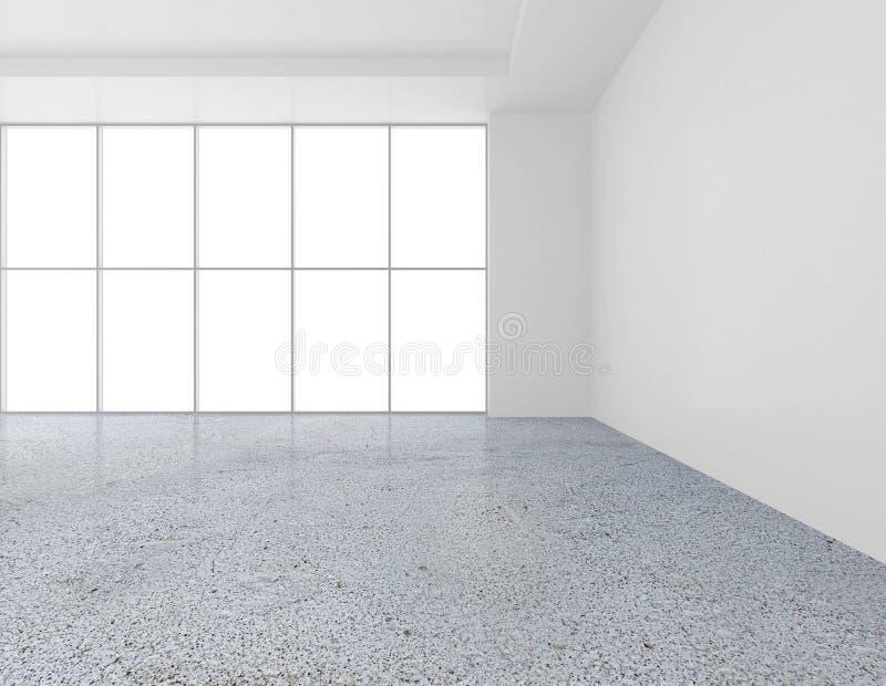 Galería vacía blanca del contemporáneo de la pared Expo moderna del espacio abierto con el piso concreto representación 3d imagen de archivo libre de regalías