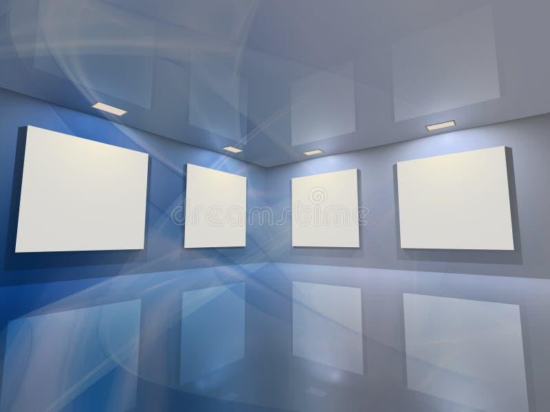 Galería virtual - azul ilustración del vector