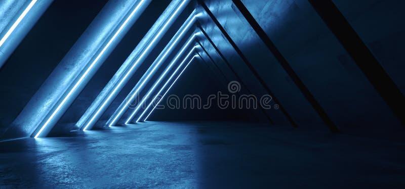 Galeria azul roxa de incandescência retro de néon futura da garagem subterrânea do clube do corredor do corredor do túnel de Sci  ilustração stock
