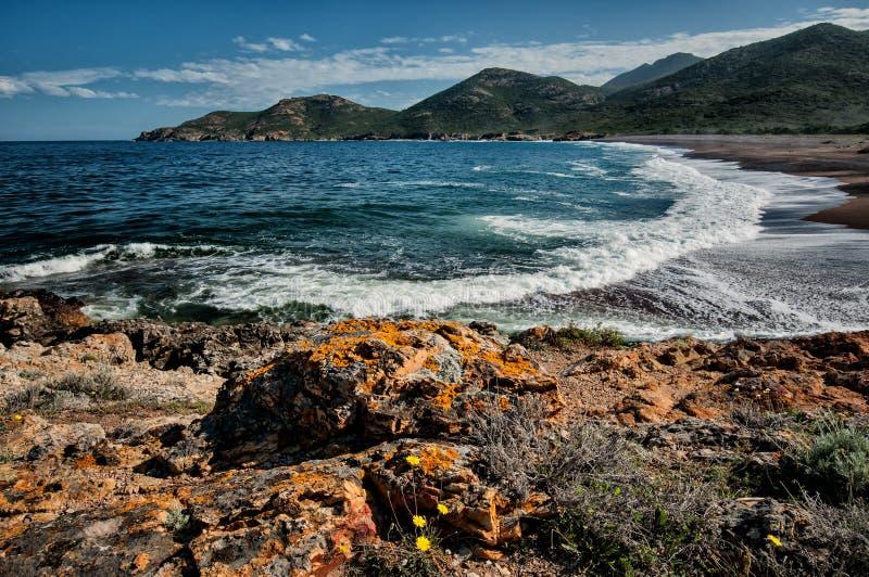 Galeria coast. Beach near the village Galeria, Corsica stock photo
