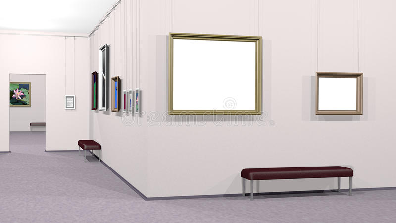 Galeria da arte com dois copyspaces ilustração stock