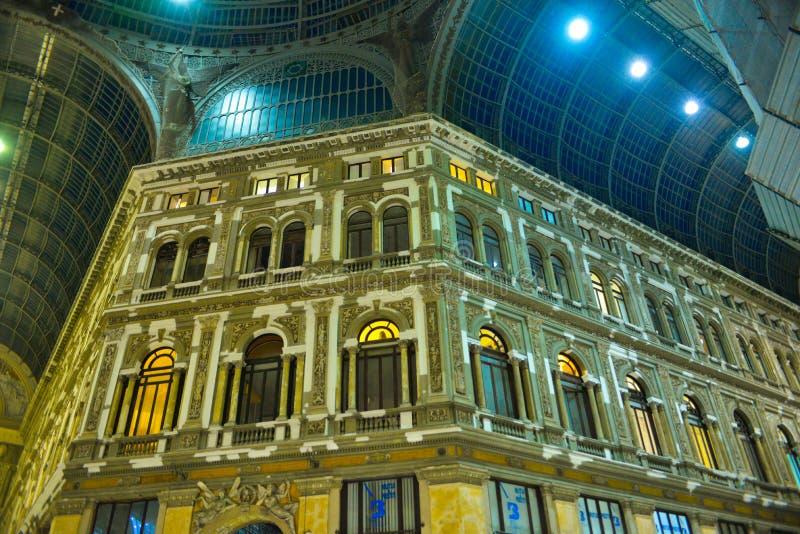 Galeria da compra de Nápoles, galeria Umberto mim, curso Itália imagens de stock royalty free
