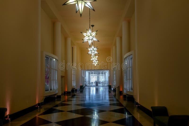 Galeria DAS Estrelas ou galerie des étoiles hôtel de casino de palais de Quitandinha à l'ancien - Petropolis, Rio de Janeiro, Bré images stock