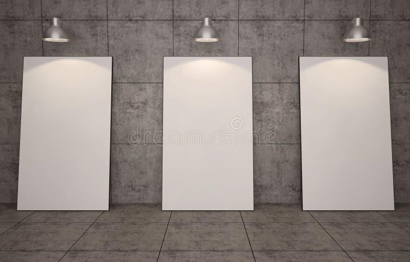 Galeria de arte Molduras para retrato vazias no fundo da parede de tijolo ilustração stock