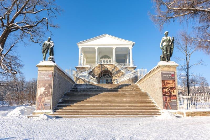 Galeria de Cameron do palácio de Catherine no inverno, Tsarskoe Selo Pushkin, St Petersburg, Rússia imagens de stock royalty free