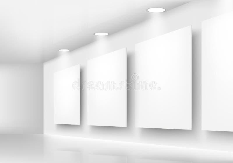 Galeria de quadros vazios na parede com iluminação ilustração do vetor