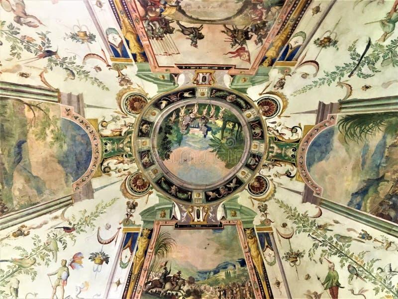 Galeria de Uffizi em Florença, em telhado e em detalhes fotografia de stock royalty free