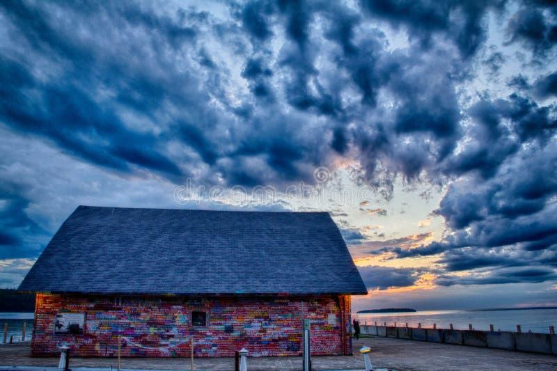 Galeria em Anderson Dock em Ephraim, WI no por do sol fotografia de stock