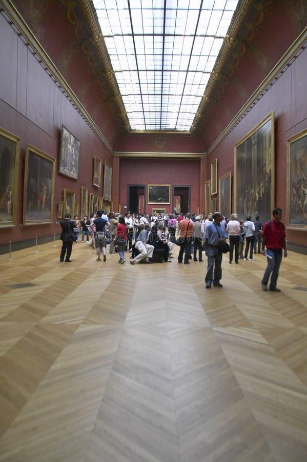 Galeria europeia no museu do Louvre, Paris, França fotografia de stock