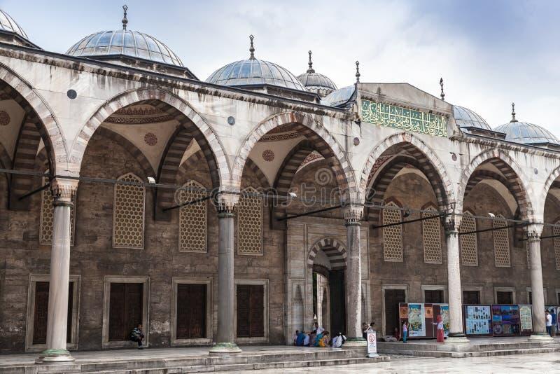 Galeria interna de Sultan Ahmed Mosque fotografia de stock