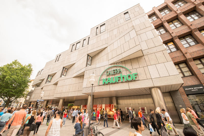 Galeria Kaufhof. Department store in munich with lots of people royalty free stock photo