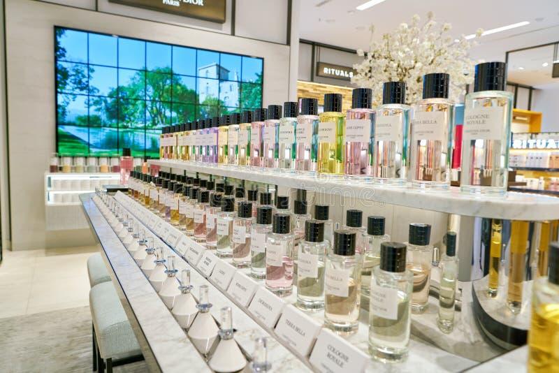 Galeria Kaufhof. DUSSELDORF, GERMANY - CIRCA SEPTEMBER, 2018: Christian Dior fragrance bottles on display at Galeria Kaufhof in Dusseldorf stock image