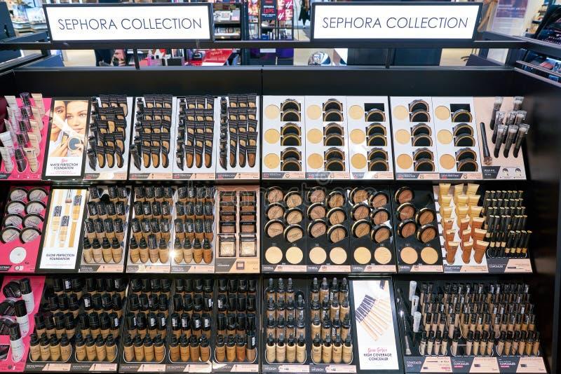 Galeria Kaufhof. DUSSELDORF, GERMANY - CIRCA SEPTEMBER, 2018: cosmetics on display at Galeria Kaufhof in Dusseldorf stock photography