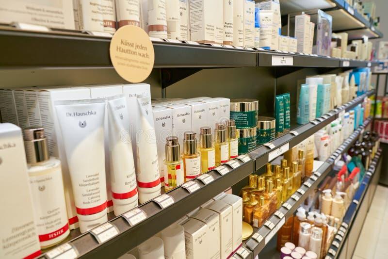 Galeria Kaufhof. DUSSELDORF, GERMANY - CIRCA SEPTEMBER, 2018: cosmetics on display at Galeria Kaufhof in Dusseldorf royalty free stock photography