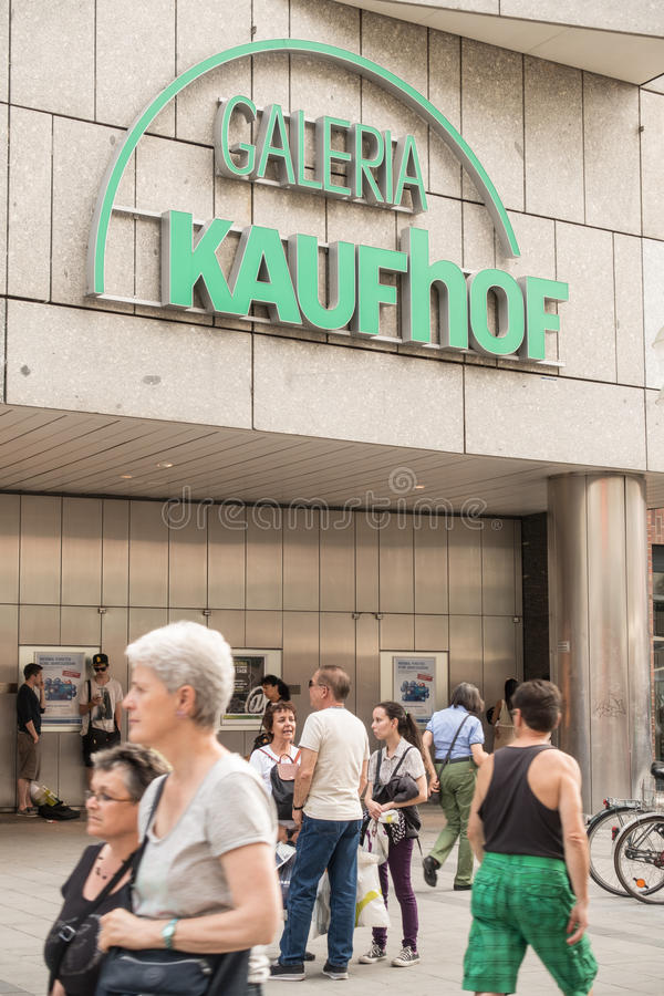 Galeria Kaufhof. Lots of people infront of a german Galeria Kaufhof department store stock images