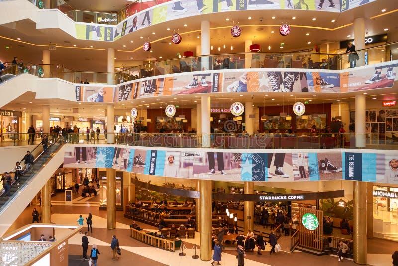 Galeria shopping center. SAINT PETERSBURG, RUSSIA - CIRCA APRIL, 2017: various coffee shops at Galeria shopping center. Galeria is major shopping and stock photography