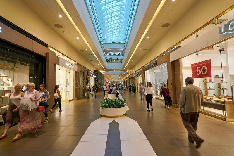 Galeria shopping center. SAINT PETERSBURG, RUSSIA - CIRCA AUGUST, 2017: inside Galeria shopping center. Galeria is major shopping and entertainment center is royalty free stock photos