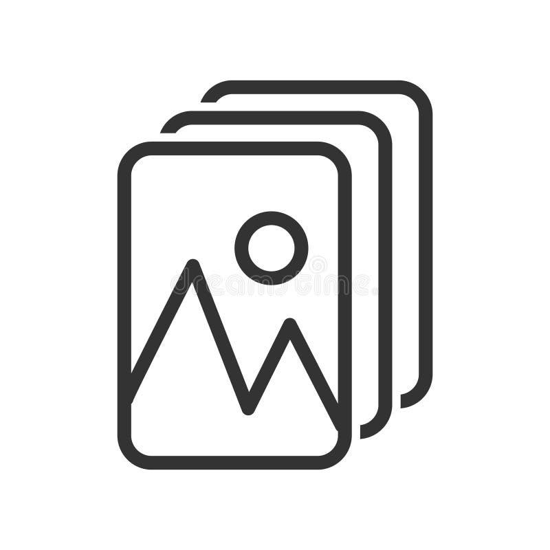 Galeria simples ou ícone de álbum com fotos ou imagens Design simples de ações isolado em um fundo branco, contorno vazio ilustração do vetor