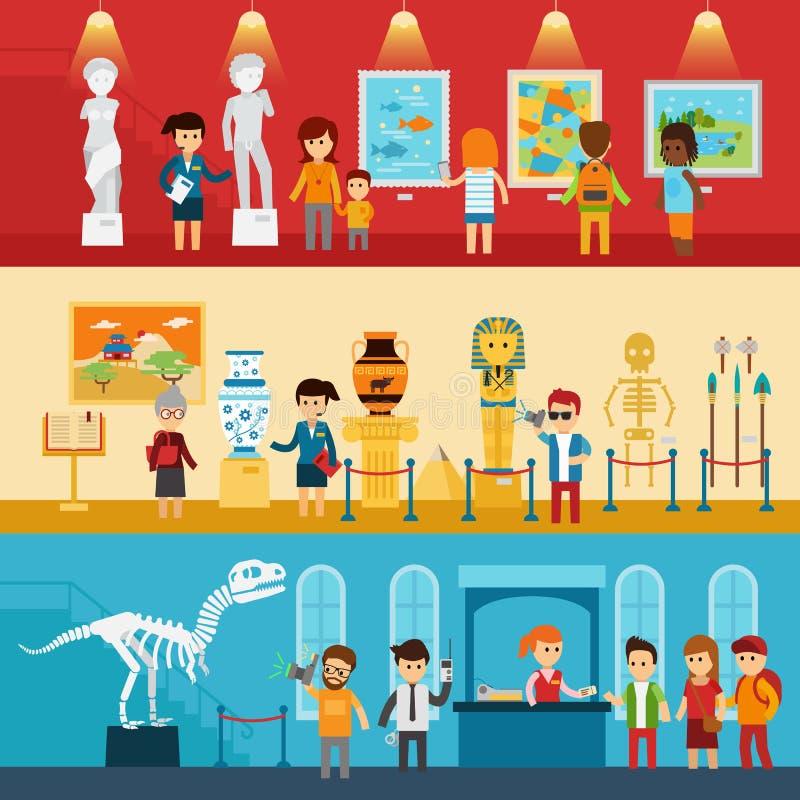 Galeria sztuki goście i antykwarski muzeum paleontology sztandarów płaski abstrakt odizolowywali wektorową ilustrację Ludzie spoj royalty ilustracja
