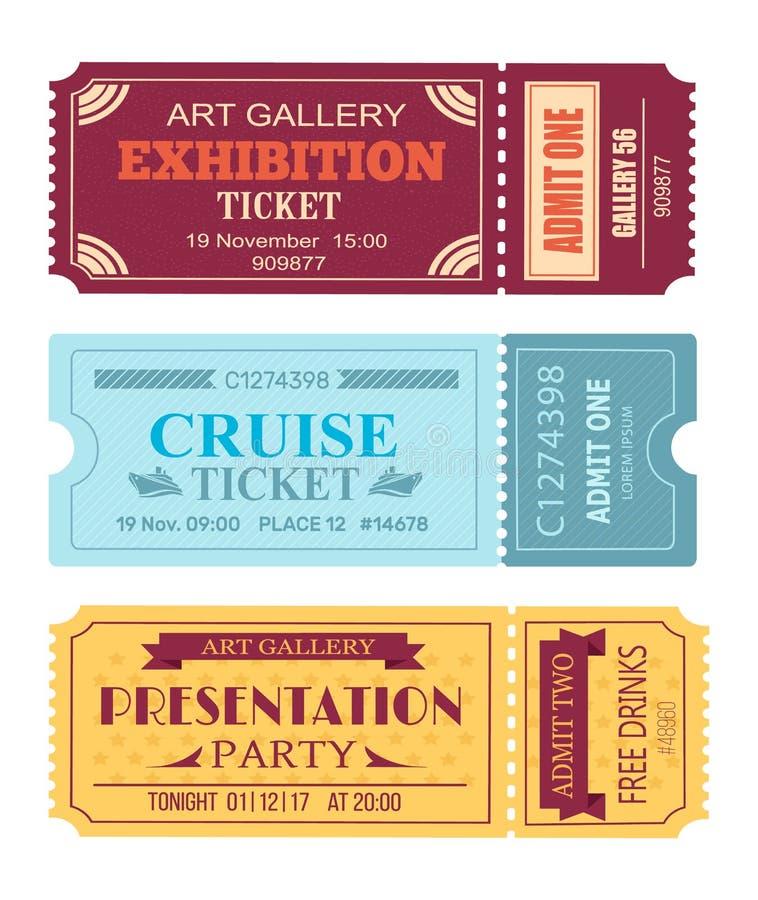 Galeria Sztuki Powystawowy bilet, rejsu talonu set ilustracja wektor