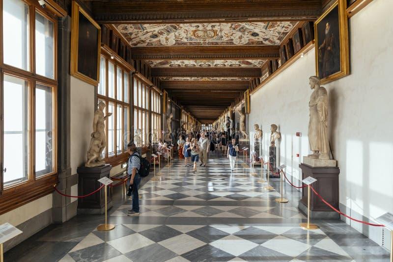 Galeria Uffizi w hallu we Francji obrazy stock