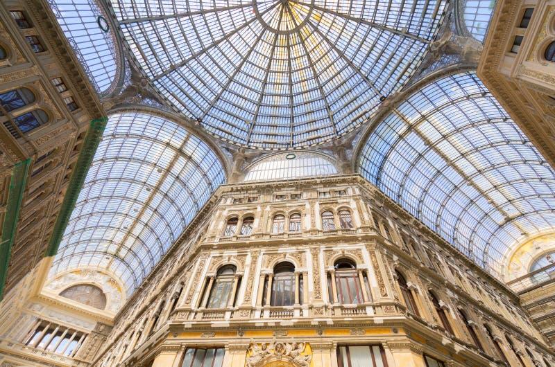 Galeria Umberto mim, galeria pública da compra em Nápoles imagem de stock