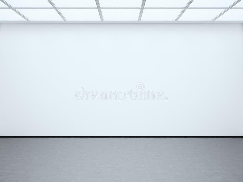 Galeria vazia branca do contemporâneo da parede da foto Expo moderna do espaço aberto com assoalho concreto Lugar para a informaç fotos de stock