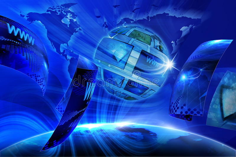 Galeria virtual global ilustração royalty free