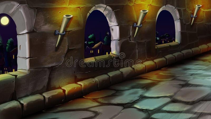 Galeria w kasztelu cumujący noc portu statku widok ilustracji