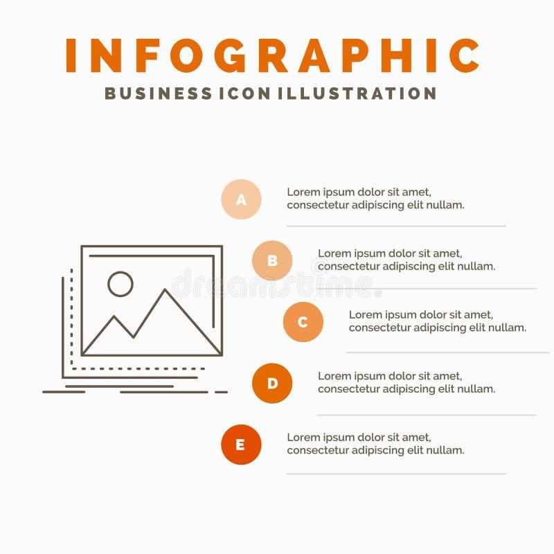 galeria, wizerunek, krajobraz, natura, fotografii Infographics szablon dla strony internetowej i prezentacja, Kreskowa Szara ikon royalty ilustracja