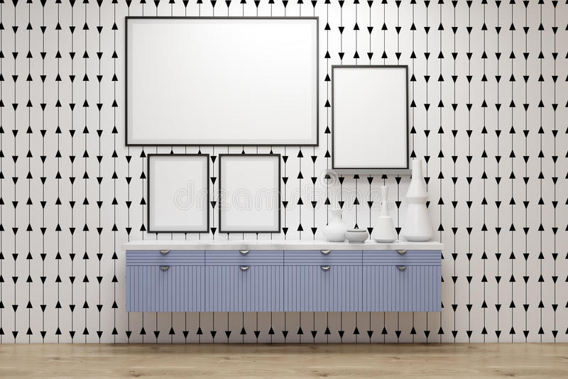 Galerie d'affiche, tiroirs bleus, mur gris illustration de vecteur