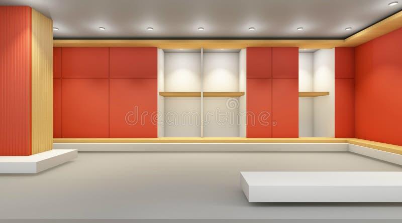 Galerie d'art contemporain et affichage de mur orange illustration de vecteur