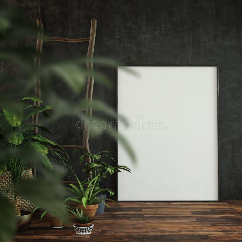 Galerie d'intérieur de salon avec la photo vide illustration libre de droits