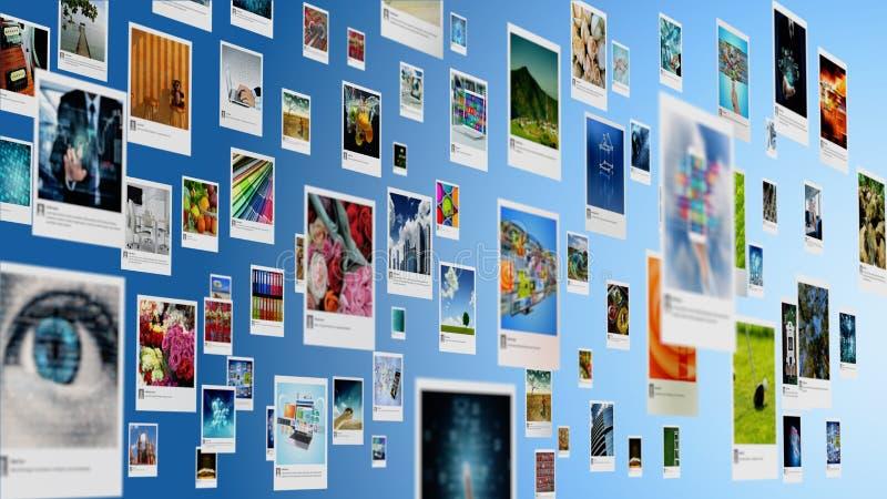 Galerie de photos et photo partageant le concept sur l'Internet photos stock