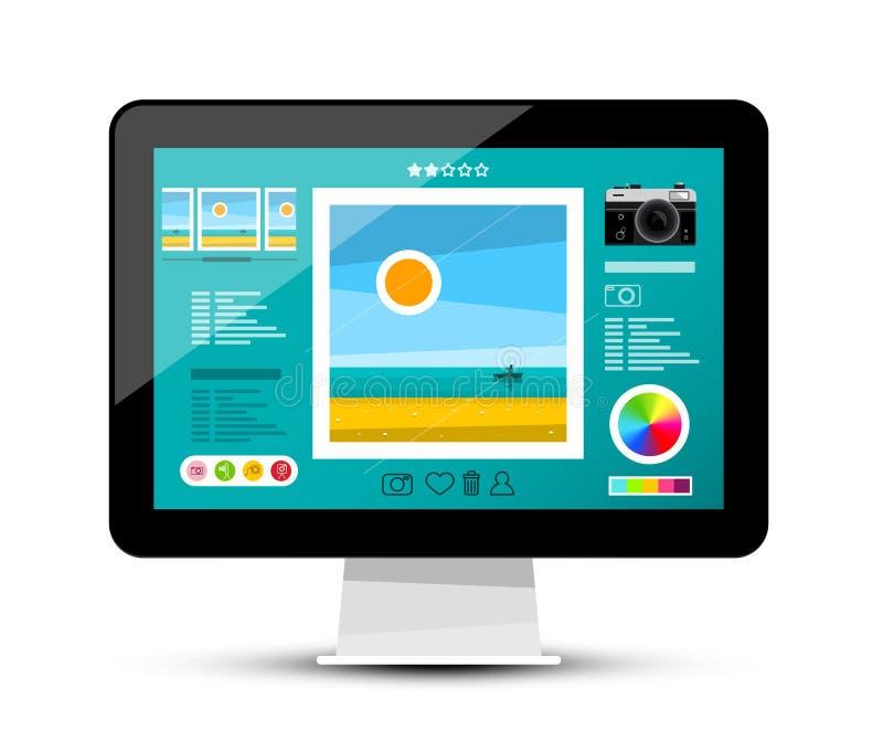 Galerie de Web sur l'écran Photo éditant le logiciel sur le moniteur d'ordinateur illustration stock