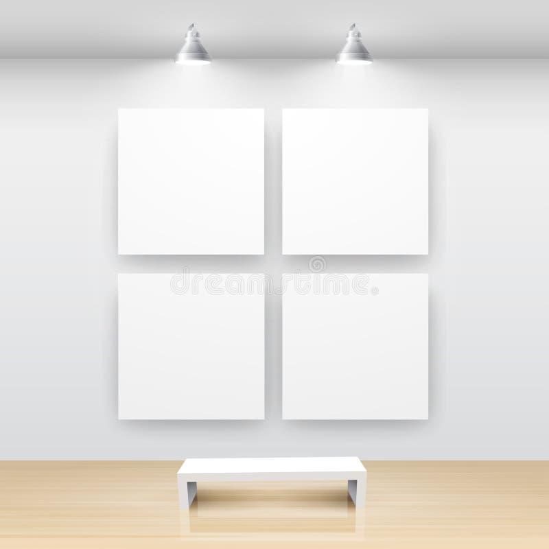 Galerie-Innenraum mit leerem lizenzfreie abbildung