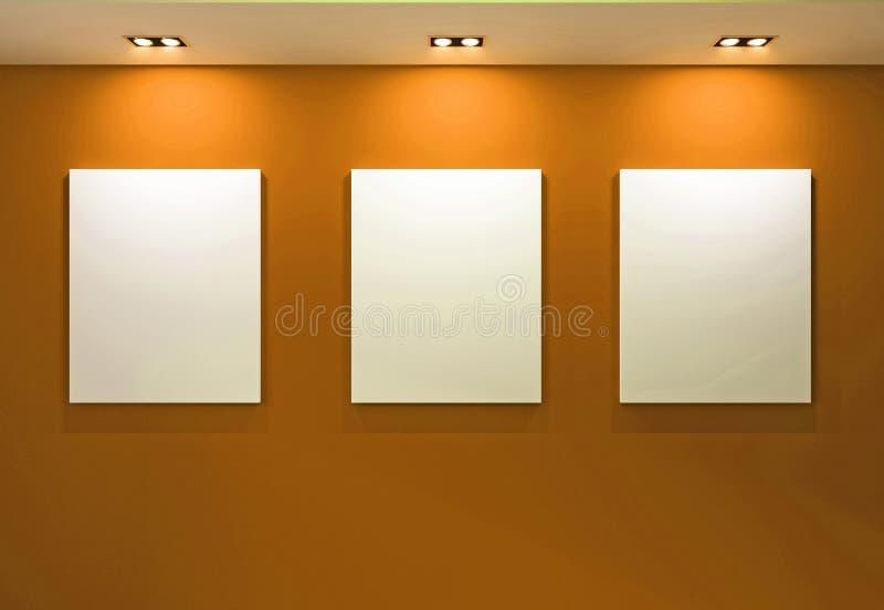 Galerie-Innenraum mit leeren Feldern auf orange Wand lizenzfreies stockfoto