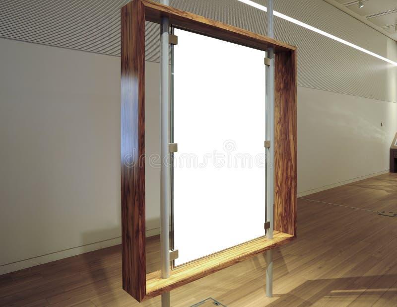 Galerie-Innenraum mit leerer Fahne, Fahnen-Modell lizenzfreie stockfotos