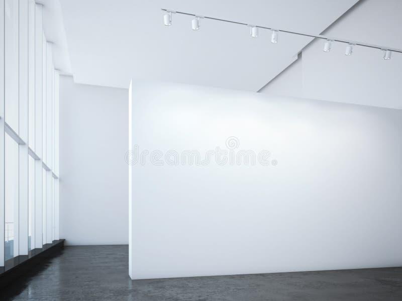 Galerie lumineuse moderne avec le mur et les projecteurs blancs rendu 3d photographie stock