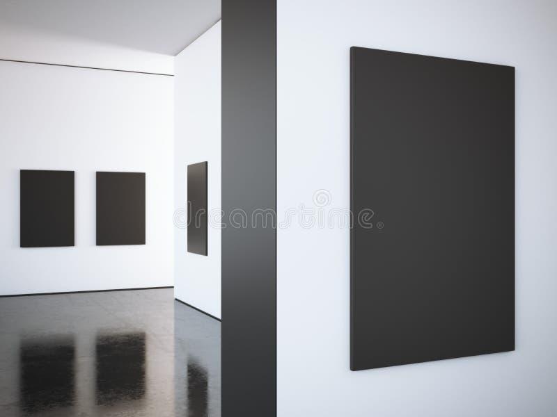 Galerie lumineuse moderne avec les cadres noirs rendu 3d photos libres de droits