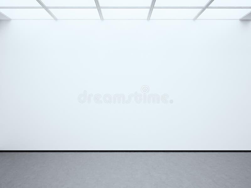 Galerie vide blanche vide de contemporain de mur de photo Expo moderne de l'espace ouvert avec le plancher en béton Endroit pour  image libre de droits