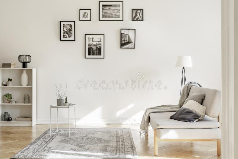 Galerie von Schwarzweiss-Plakaten auf der Wand des noblen Wohnzimmerinnenraums lizenzfreie stockbilder
